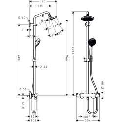 Hansgrohe Croma 160 душ система с термостатен смесител 2