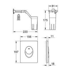 Grohe Skate Air хром с Fresh система бутон за WC вертикален 2