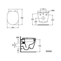 Конзолна тоалетна чиния Ideal Standard Connect Space 48 см 2
