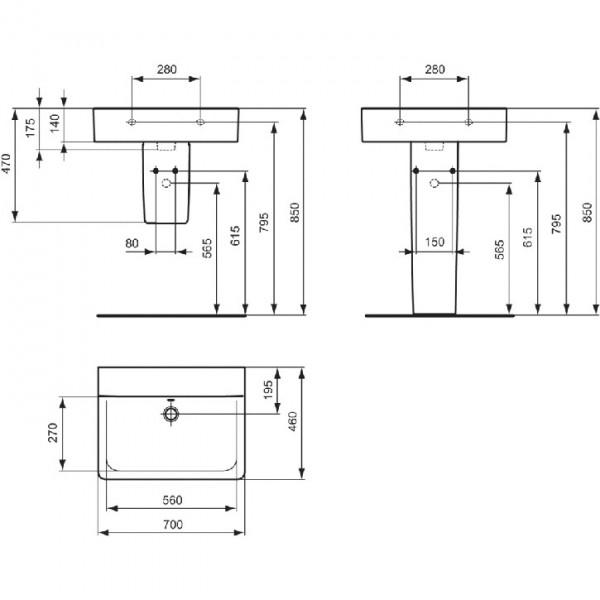 ideal standard connect cube 70x46 e810701 e810801. Black Bedroom Furniture Sets. Home Design Ideas