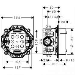 Универсално тяло за вграждане Hansgrohe iBox със спирателен кран 2
