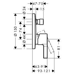 Hansgrohe Metris S смесител за вграждане с превключвател 2