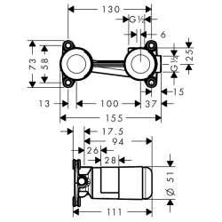 Hansgrohe Basic Set тяло за вграждане за смесител за мивка 2