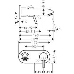 Hansgrohe Talis смесител за вграждане за умивалник 165мм чучур 2
