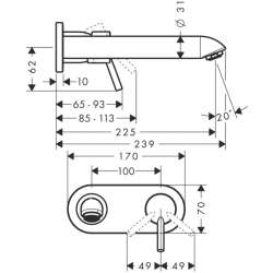 Hansgrohe Talis смесител за вграждане за умивалник 225мм чучур 2