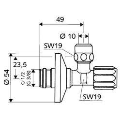 """Schell """"1/2"""" x """"3/8"""" ASAG кран ъглов с филтър и гайка 2"""