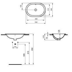 Овална мивка за вграждане Ideal Standard Connect 55x38 см - без отвор за смесител 2