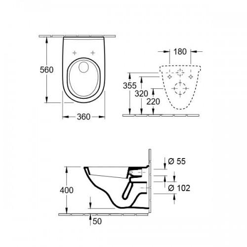 Villeroy & Boch O.novo окачена WC 2