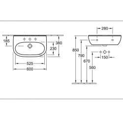 Villeroy & Boch O.novo 600x380мм Compact за стенен монтаж 2