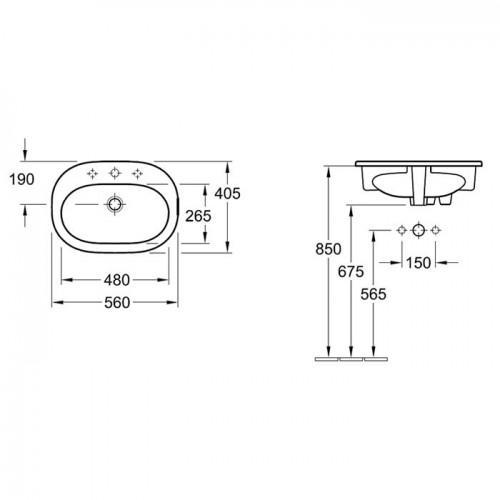 Villeroy & Boch O.novo 560x405мм за вграждане в плот 2