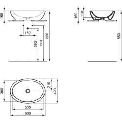 Овална мивка за монтаж върху плот Ideal Standard Strada 60x42 см 2