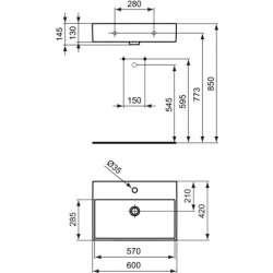 Ideal Standard Strada 60х42 см мивка с отвор за смесител 2
