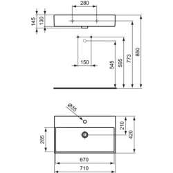 Ideal Standard Strada 71х42 см мивка с отвор за смесител 2