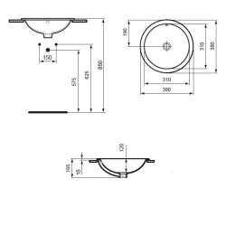 Кръгла мивка за вграждане Ideal Standard Connect 38 см - без отвор за смесител 2