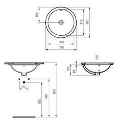 Кръгла мивка под плот Ideal Standard Connect 38 см 2