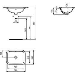 Правоъгълна мивка под плот Ideal Standard Connect 50х38 см 2
