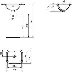 Правоъгълна мивка под плот Ideal Standard Connect 42х35 см 2