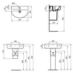 Ideal Standard Connect Space Arc 55x38 см мивка къса проекция 2