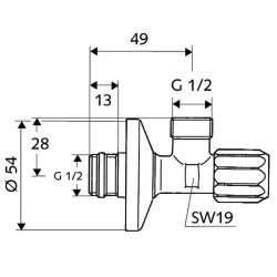 """Schell """"1/2"""" x """"1/2"""" ASAG кран ъглов с фин филтър 2"""