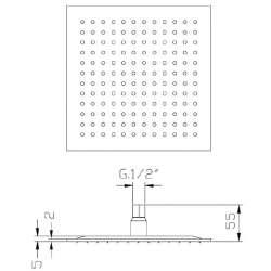 Квадратна душ пита Fromac 6671 250х250мм, 2мм дебелина 2
