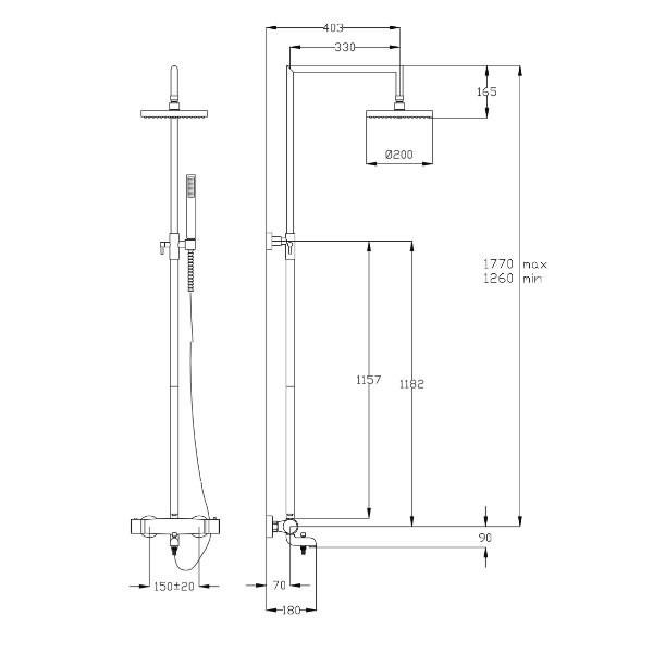 Душ колона Fromac Thermo Bath с термостатен смесител 15462