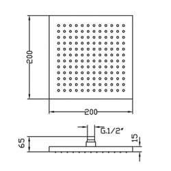 Квадратна душ пита Fromac 6652 20х20 см ABS 2