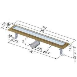 Линеен сифон Inox Style правоъгълник 485x80 - хидроизолационен фланец 2