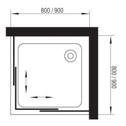 Квадратна душ кабина 80х80 с плъзгане 2