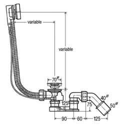 Сифон за вана Viega Simplex 6168.46 - автоматичен дълъг 2