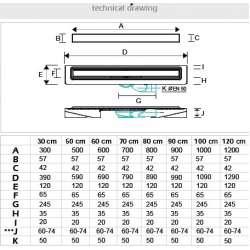 Нисък линеен сифон Greka 700x65 - хидроизолационен фланец 2