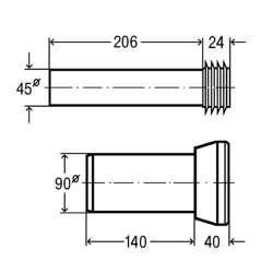 Свързващ комплект тръби за вградени казанчета Viega 3817.815 - 18 см 2
