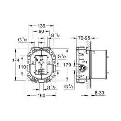 Grohe Rapido T тяло за вграждане за термостатен смесител 2