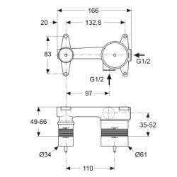 Ideal Standard тяло за вграждане за умивалник 2