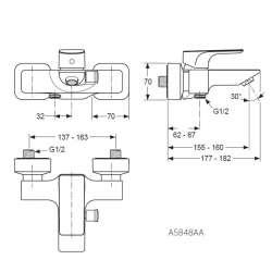 Ideal Standard Strada стенен за вана/душ 2