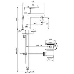 Ideal Standard Vito за умивалник с изпразнител 1