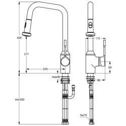 Ideal Standard Retta за кухня с изтеглящ се душ 2