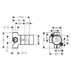 Hansgrohe Basic set тяло за вграждане 3-пътен разпределител 2
