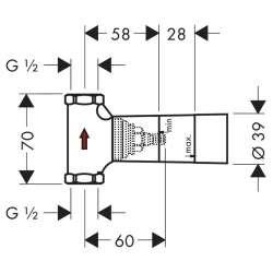 Hansgrohe Basic set тяло за вграждане спирателен кран 80л/мин 2