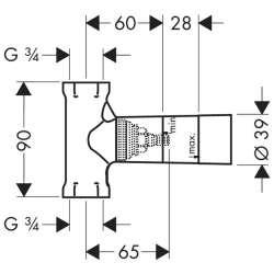 Hansgrohe Basic set тяло за вграждане спирателен кран 130л/мин 2
