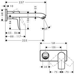 Hansgrohe Metris вграден за умивалник 225мм чучур 2
