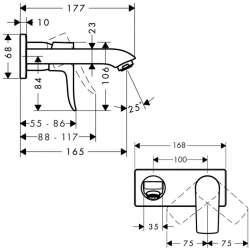 Hansgrohe Metris вграден за умивалник 165мм чучур 2