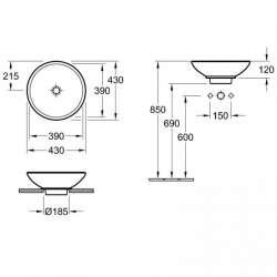 Villeroy & Boch Loop & Friends 430мм мивка върху плот 2