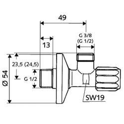 """Schell """"1/2"""" x """"3/8"""" кран ъглов с филтър 2"""