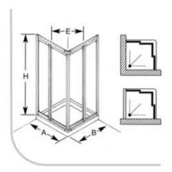 Кабина 70х90 бял профил, прозрачно стъкло 2