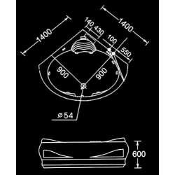 Ъглова вана с хидромасаж и хромотерапия 140х140см 2