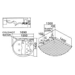 Двойна ъглова вана с хидро и аеромаса MY 1603 169x140см 2
