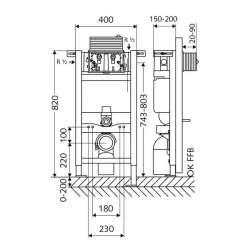 Schell Montus 820 C ниска структура за вграждане за WC 2