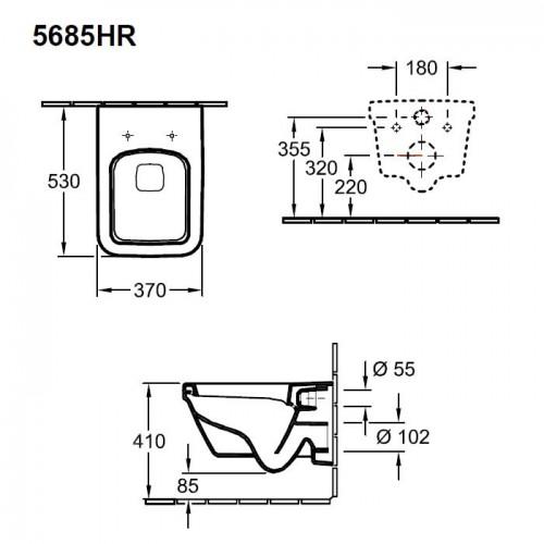 Villeroy & Boch Architectura DirectFlush квадратна конзолна WC 2
