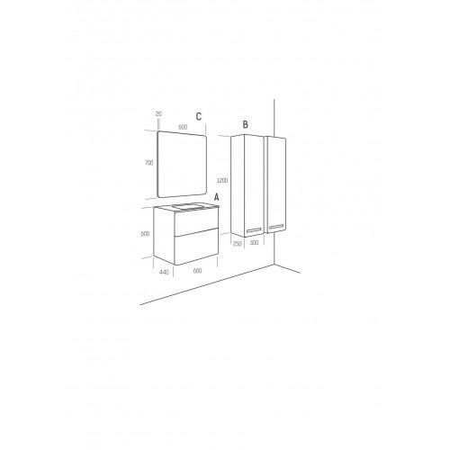 Огледало с заоблени ръбове, PVC рамка 60см 1
