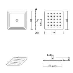 Ponsi Квадратна душ пита неръждаема стомана 250 мм 2